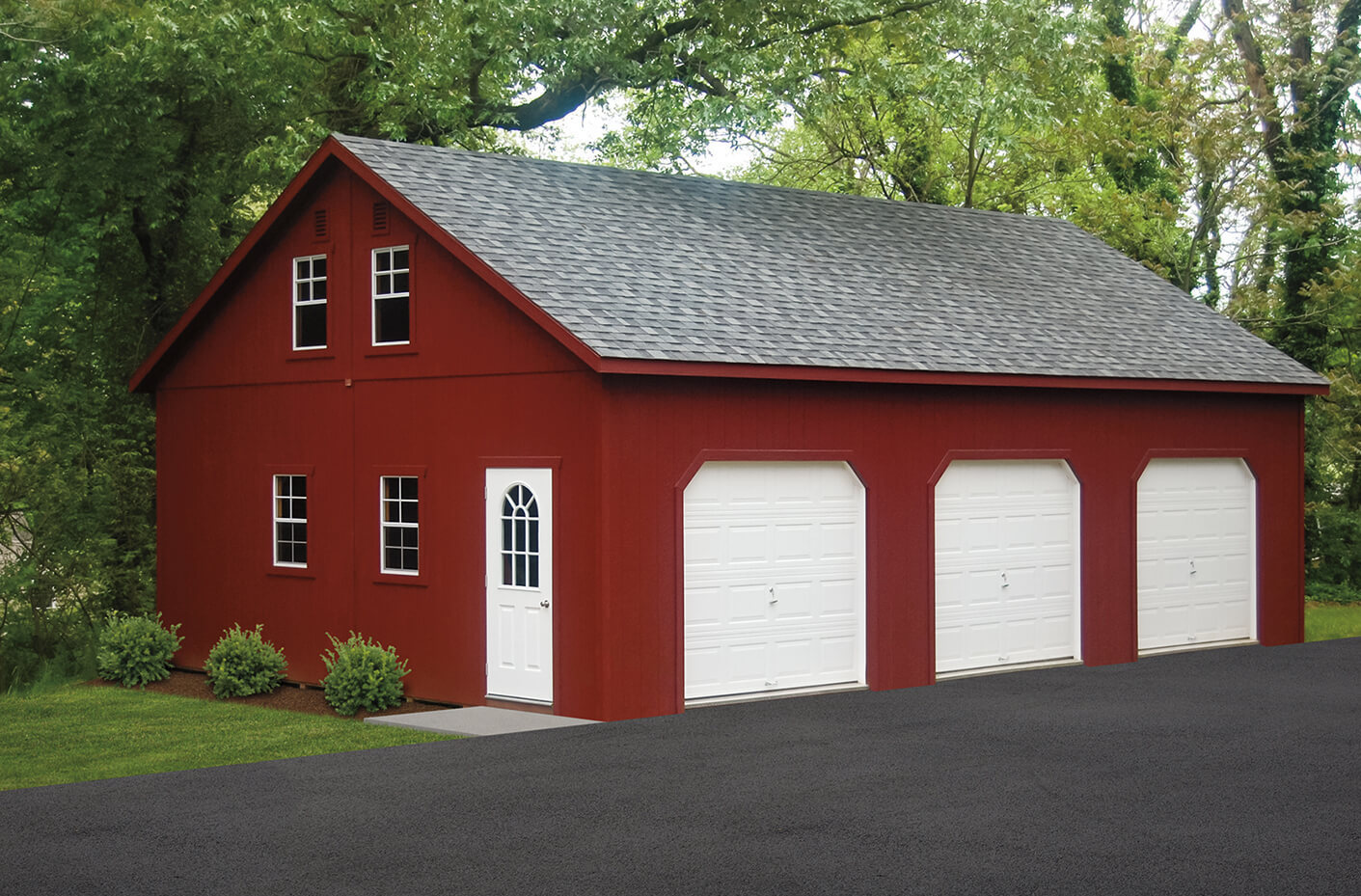 Red two story garage in Medford NY.